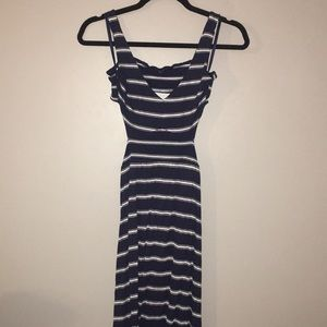 Navy and White striped cutout maxi dress